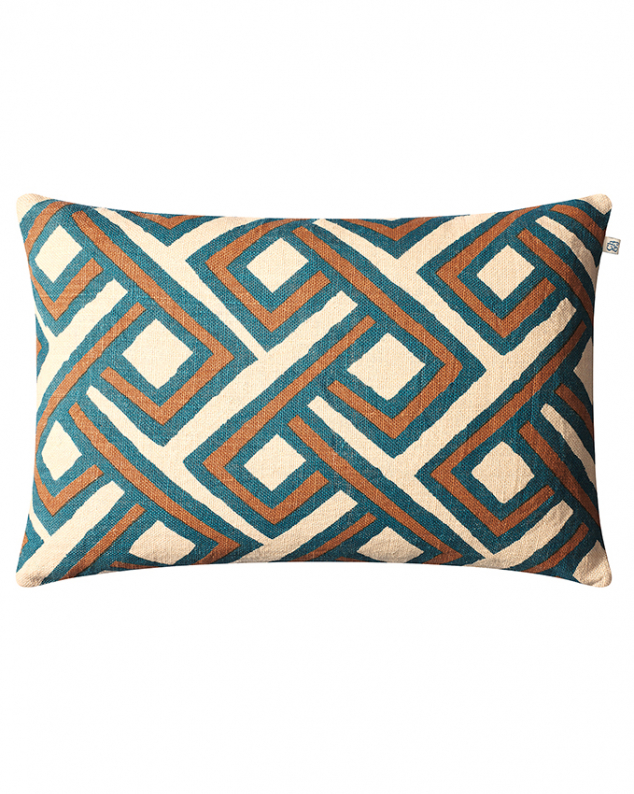 Lanka - Palace Blue/Taupe in the group Cushions / Linen Cushion Covers at Chhatwal & Jonsson (ZCC040251-16B)
