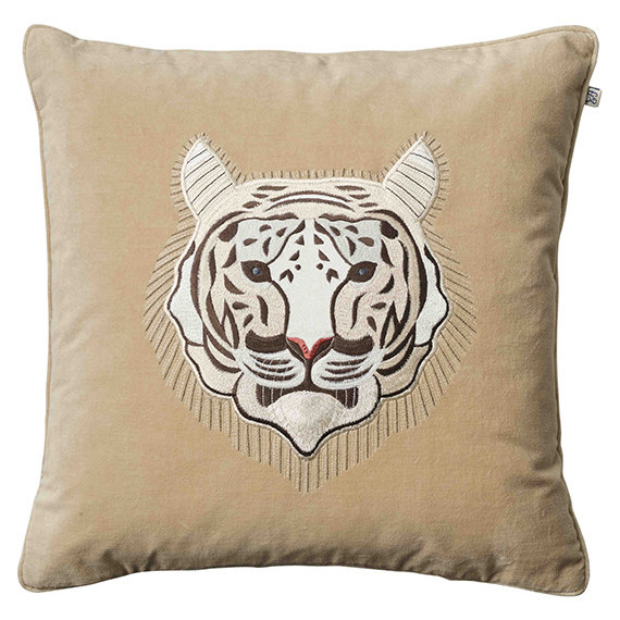 Tiger - Beige in the group Cushions / Embroidered Cushion Covers at Chhatwal & Jonsson (ZCC730112-12V)