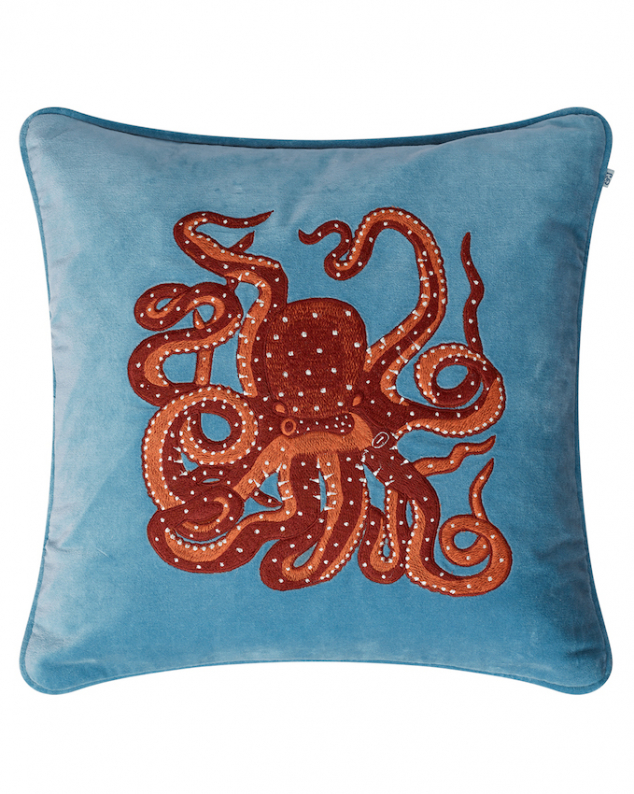 Octopus - Heaven Blue/Orange/Rose in the group Cushions / Embroidered Cushion Covers at Chhatwal & Jonsson (ZCC850150-15V)