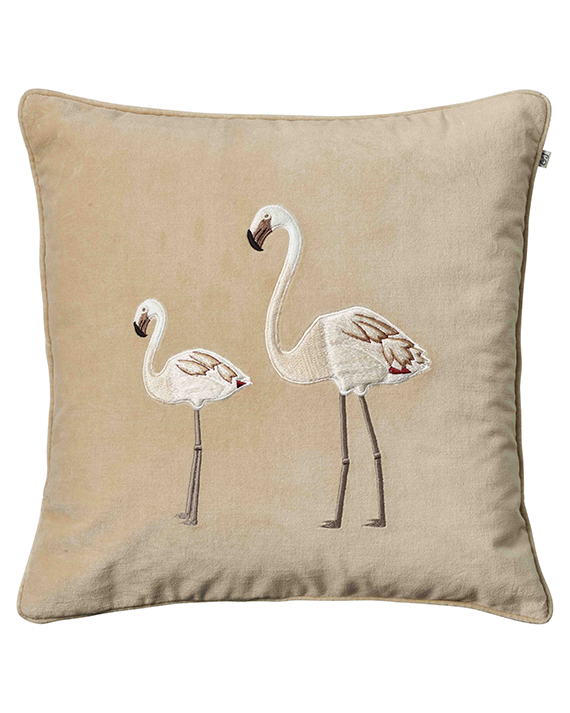 Flamingo - Beige in the group Cushions / Embroidered Cushion Covers at Chhatwal & Jonsson (ZCC930112-12V)