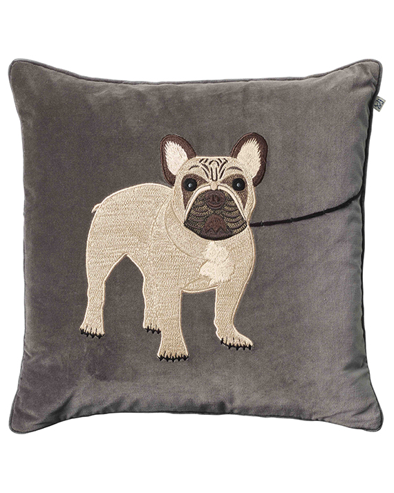 French Bulldog - Grey in the group Cushions / Embroidered Cushion Covers at Chhatwal & Jonsson (ZCC940113-12V)